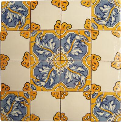 16 Handpainted Mexican Talavera Tile Set - Mediterranean ...