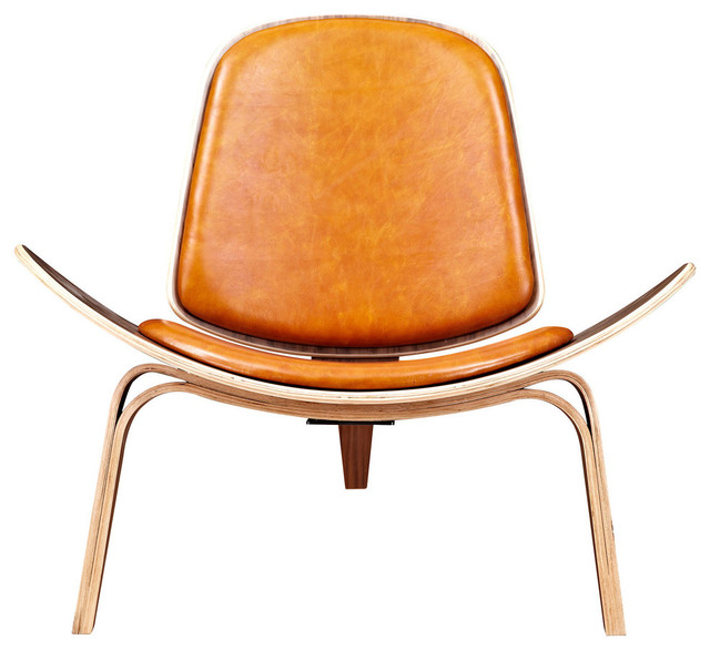Shell chair burnt orange walnut replacement part for Burnt orange accent chair