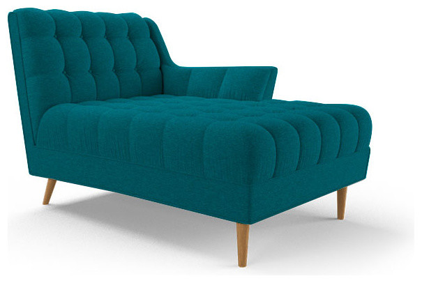Fitzgerald single arm chaise lucky turquoise blue for Blue chaise longue
