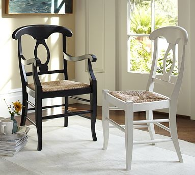 napoleon r rush seat side chair antique white traditional dining chairs by pottery barn. Black Bedroom Furniture Sets. Home Design Ideas