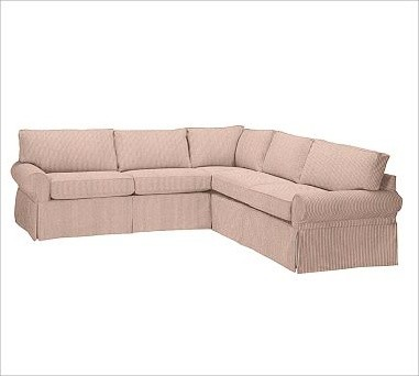 Pb Basic 2 Piece Sectional Slipcover Ticking Stripe