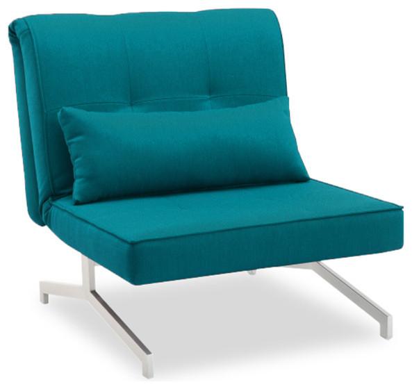 Fauteuil convertible bz lit 1 personne bleu turquoise - Fauteuil turquoise contemporain ...