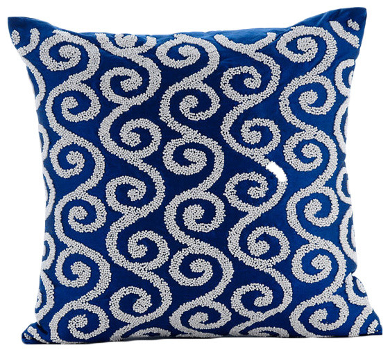 Beaded Spiral Scroll 16x16 Art Silk Royal Blue Pillow Covers, Around the World - Contemporary ...