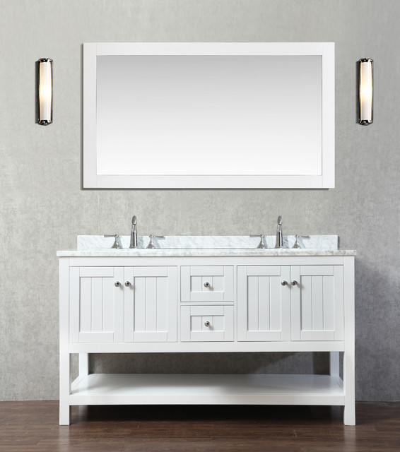 Emily 60\u0026quot; Bathroom Vanity Cottage Style  White  Beach Style  Bathroom Vanities And Sink
