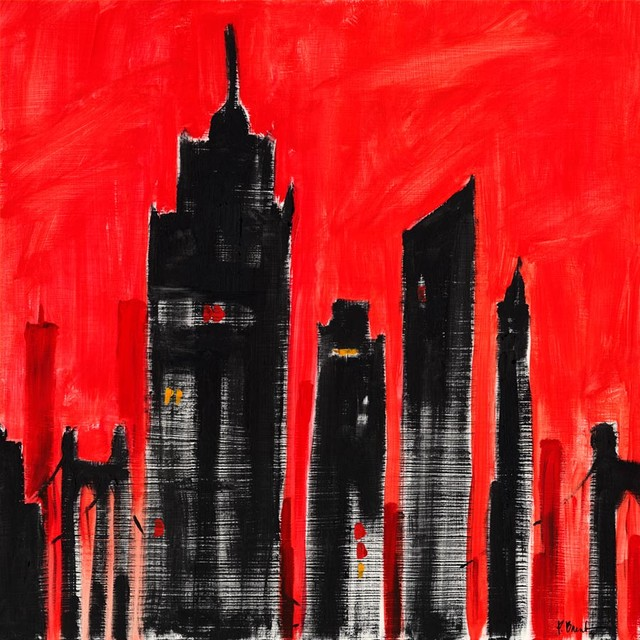 City scape red wall mural contemporary wall decals for City scape mural