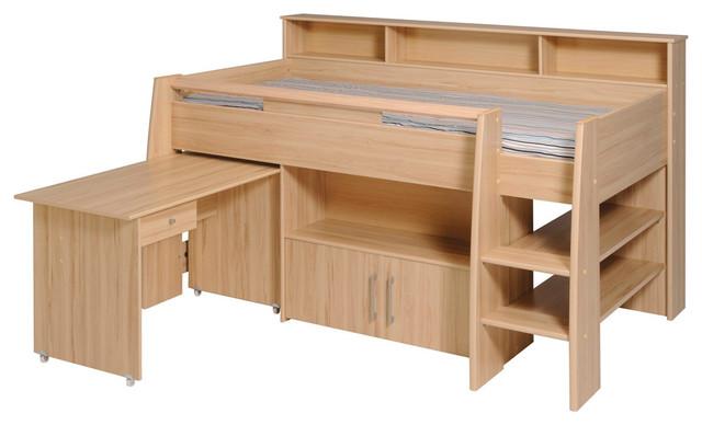Reece midsleeper cabin bed beech modern children 39 s for Furniture 123 cabin bed