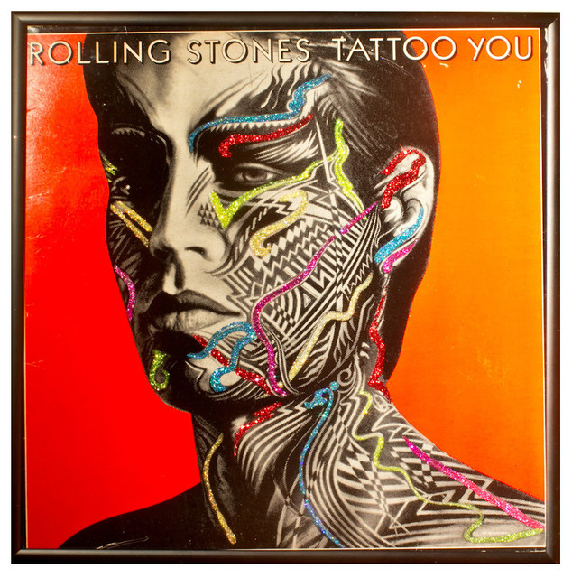 glittered rolling stones tattoo you album eclectic artwork by mmm designs. Black Bedroom Furniture Sets. Home Design Ideas