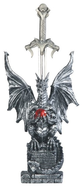 11 5 Inch Dragon Holding Red Gem With Letter Opening Sword