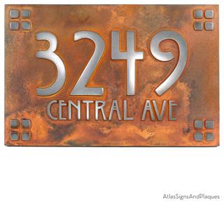 willow craftsman address plaque 12 x 8 in iron rust. Black Bedroom Furniture Sets. Home Design Ideas