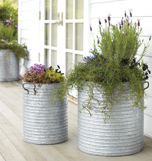 Galvanized Steel Planter With Handles Traditional