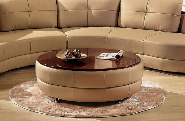 Modern Cappuccino Leather Coffee Table Contemporary