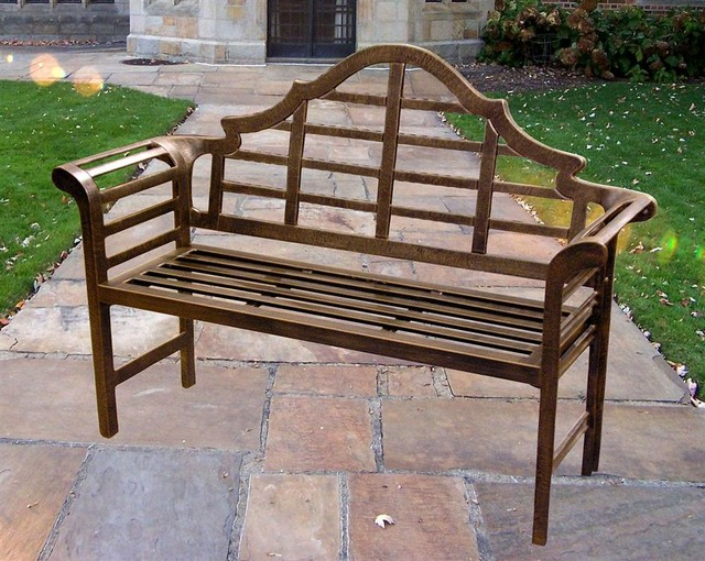 Antique Bronze Chippendale Style Bench W Curv Contemporary Garden Benches