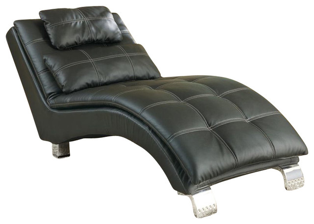 Coaster casual and contemporary living room black chaise for Black chaise lounge indoor
