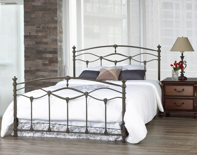 Romantica French Grey Double Wrought Iron Bed Frame