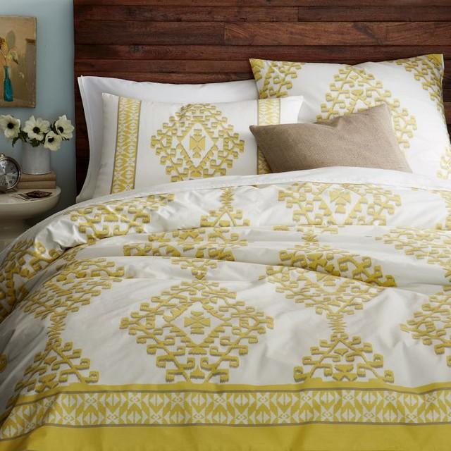 Organic Cotton Mandala Ikat Duvet Cover Contemporary