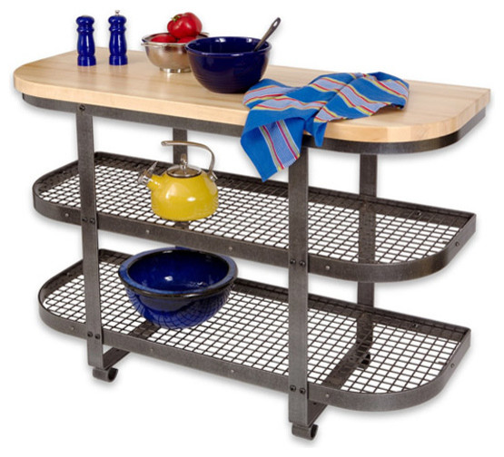 Bakers Sideboard Base Hammered Steel - Traditional - Kitchen Islands And Kitchen Carts - by Pot ...