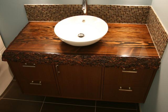 custom wood top vanity