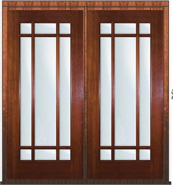 Pre hung french double door 80 mahogany 9 lite marginal for Double entry patio doors