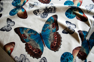 Butterfly Fabric Toile Peacock Blue Orange Summer