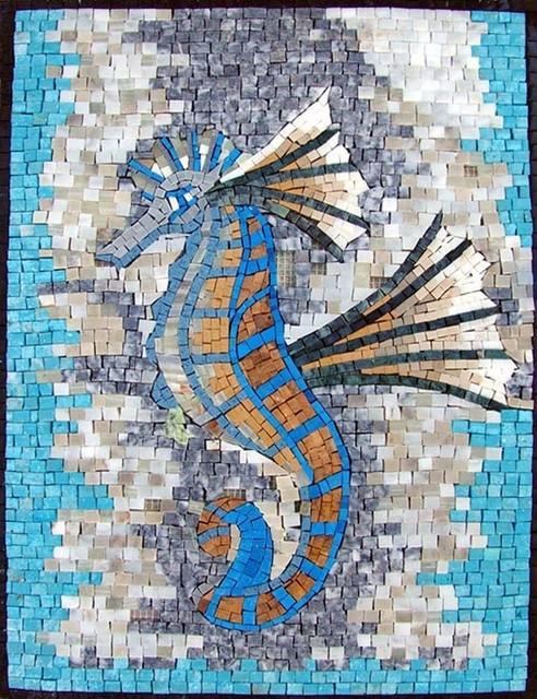 Marble Floor Tile Mosaic Murals : Seahorse marble mosaic beach style tile murals by