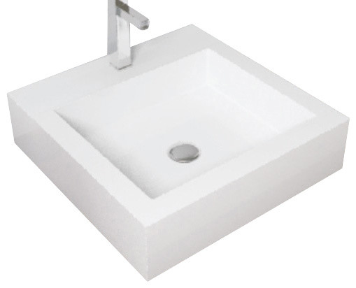 ... Stone Resin Countertop Sink, White Matte, Small modern-bathroom-sinks
