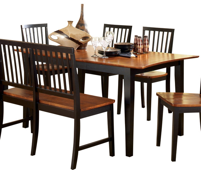 Steve Silver Branson Dining Table in Black with Leaf