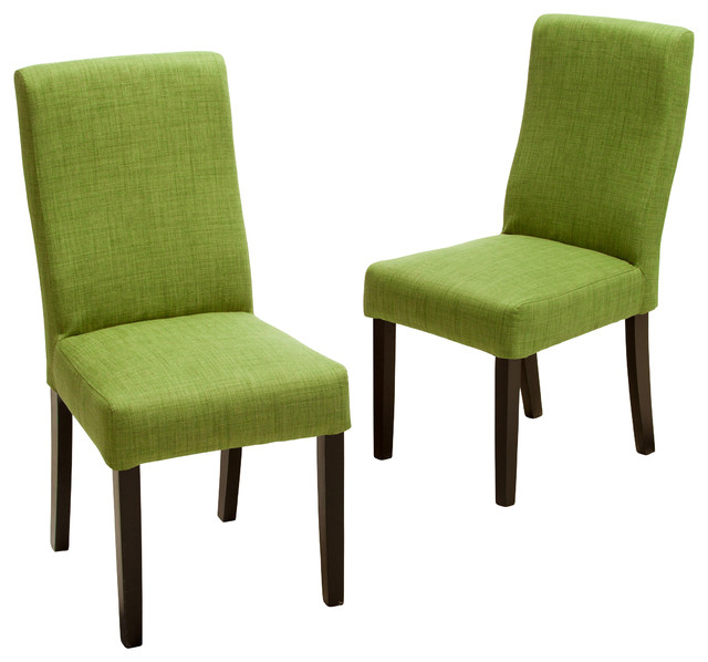 Heath fabric dining chairs green set of 2 contemporary for Contemporary fabric dining chairs