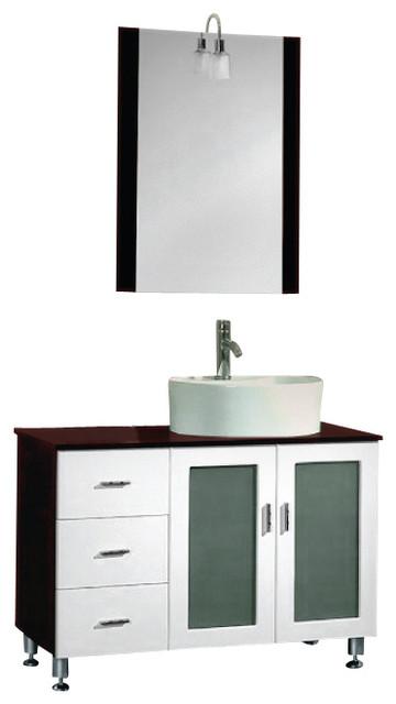 38 Inch Black Cherry & White Wood & Porcelain Vanity Set ...