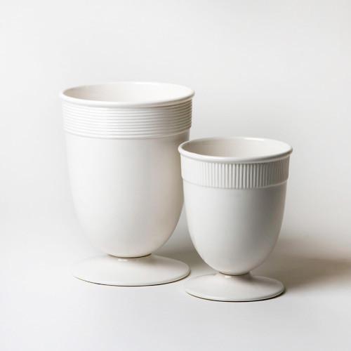 Global Views Vase: Global Views Banded Ceramic White Vase