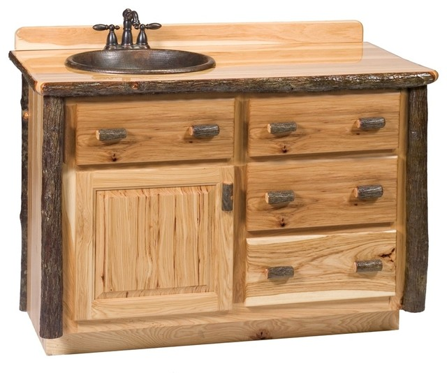 Hickory 4 Drawer Log Vanity 48 In W O Top Rustic Bathroom Vanities And Sink Consoles By