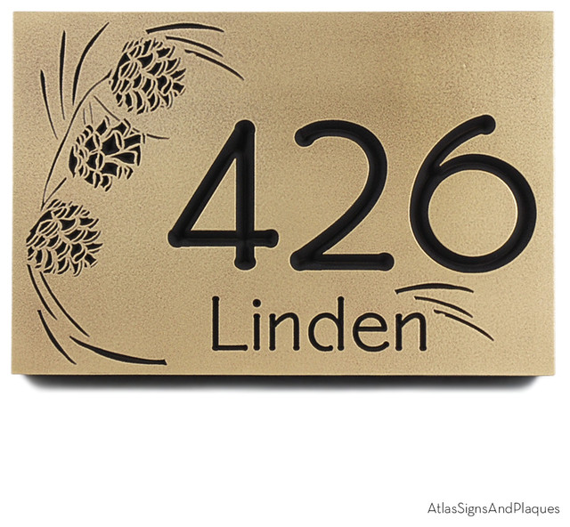 pine cone address plaque 12 x 8 in recessed brass patina. Black Bedroom Furniture Sets. Home Design Ideas
