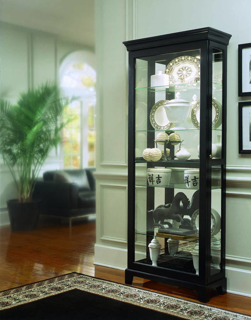 Madison Modern Black Wood Glass Two Way Sliding Door Curio - Transitional - China Cabinets And ...