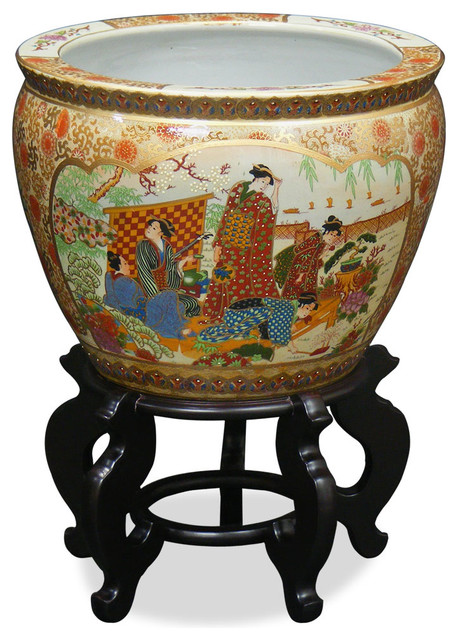 Hand painted satsuma design fishbowl 18 asian indoor for Asian furniture westmont il