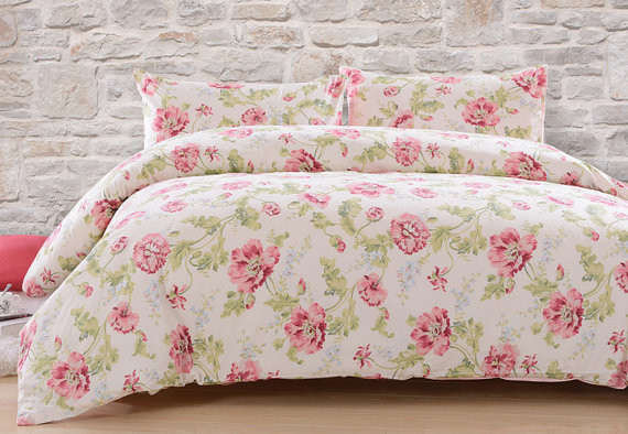 Country Cottage Pink Flower Cotton Satin Duvet Cover Set Bedding mon Peony