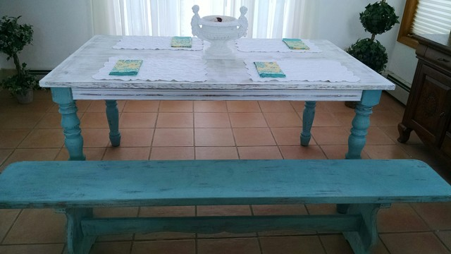 Beach Style Dining Sets: Coastal Living/Farmhouse Dining Table Bench