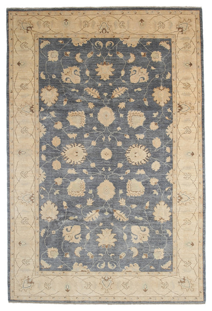 Oushak Wool Area Rug Blue 6x9 Traditional Area Rugs