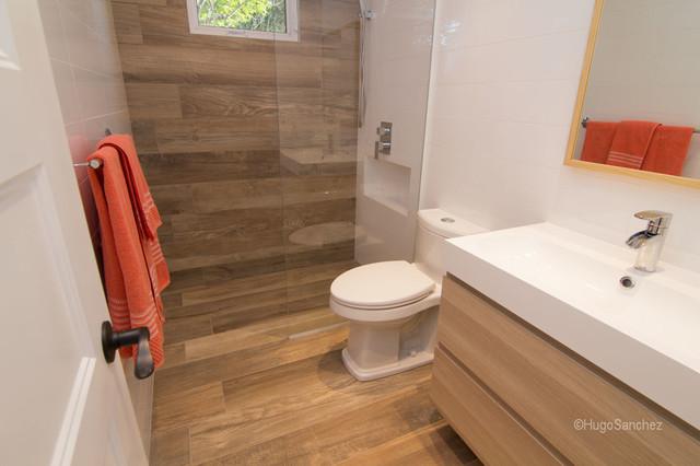 Bathtub to shower conversion contemporary bathroom for Convert bathtub to spa