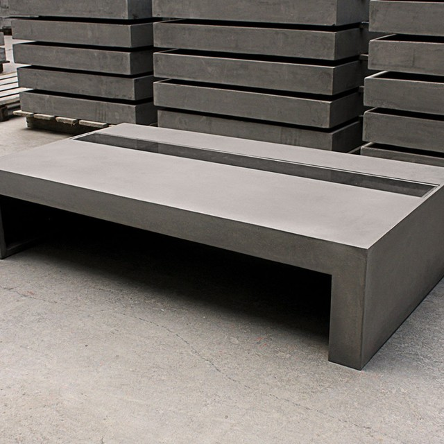 Dawn concrete tempered glass coffee table for Tempered glass coffee table