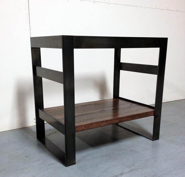 Steel And Reclaimed Oak Bath Vanity Base Modern
