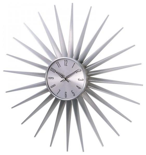 Sunburst Clock Silver Wall Clocks By Stilnovo
