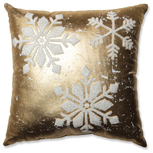 Glamour Snowflakes Throw Pillow, Gold and White, 17.5