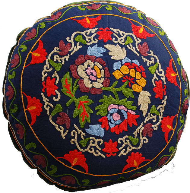 Round Floor Pillow Blue : Bouquet Round Floor Pillow, Navy Blue - Mediterranean - Floor Pillows And Poufs - by Modelli ...