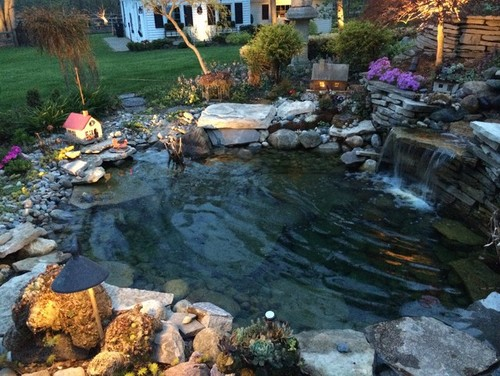 Wintering over koi in michigan for Koi pond gallons
