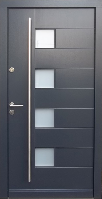 Model 02 contemporary front entry door hardware included call today modern front doors for Contemporary door hardware exterior
