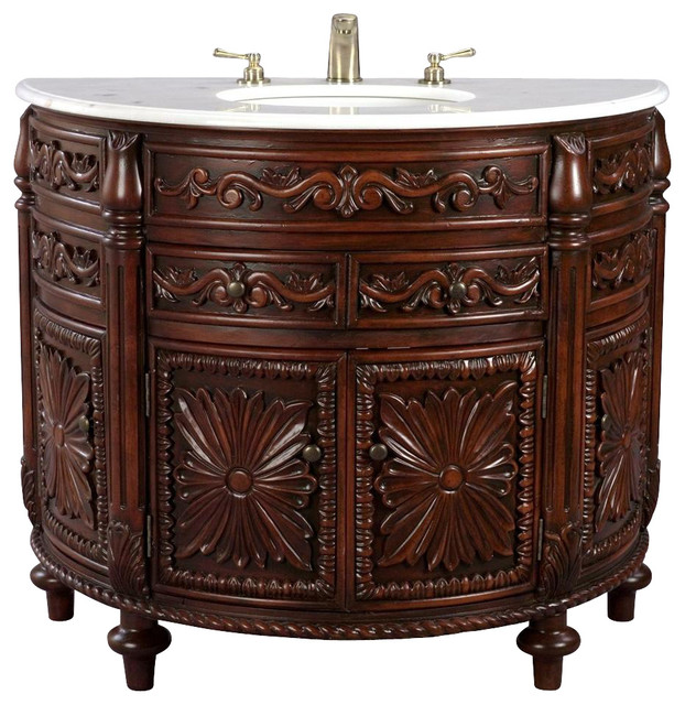Carved wooden console style vanity with white marble top for Marble top console sink