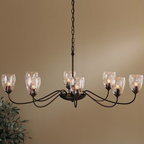 Hubbardton Forge Rainfall: Oval Eight Arms Chandelier With Water Glass By Hubbardton