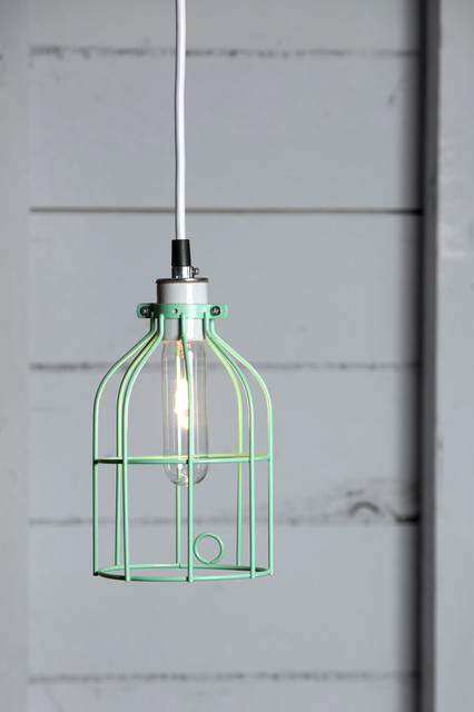 Barn Roof Tin Half Gallon Caged Mason Jar Pendant Lamp With Green Glass With Ca