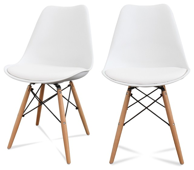 Lot de 2 chaises design ormond dsw couleur blanc for Table de salle a manger style nordique