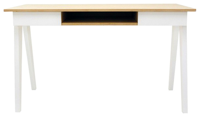 Bureau design en bois scandinave 130 cm blanc noir for Meuble bureau contemporain