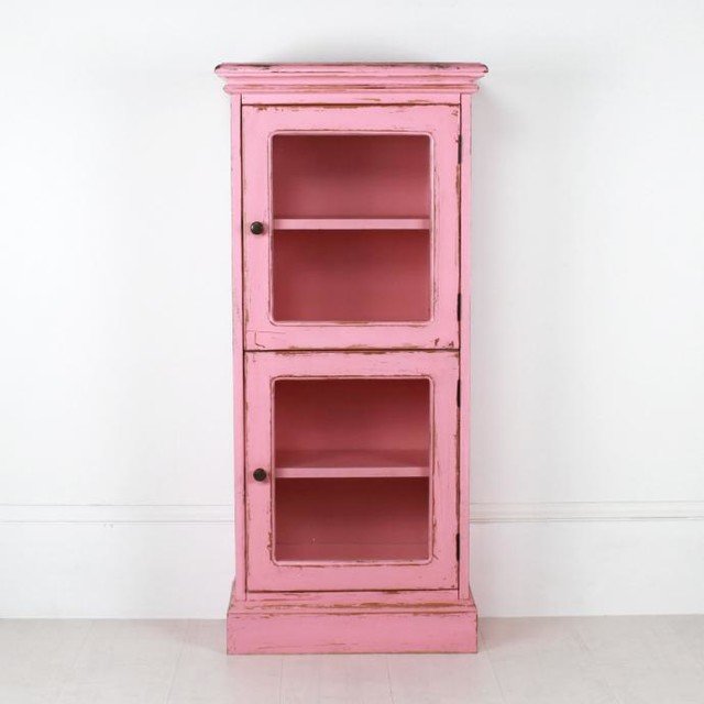 Two door french cabinet in pink country storage